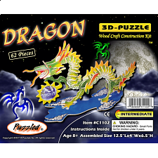 Dragon - Small - Painted - 3D Wooden Puzzle