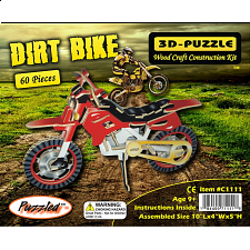 Dirt Bike - Painted - 3D Wooden Puzzle