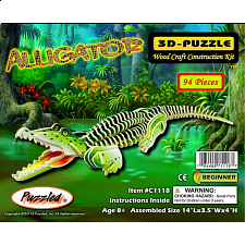 Alligator - Painted - 3D Wooden Puzzle