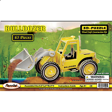 Bulldozer - Painted - 3D Wooden Puzzle