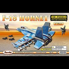 F-18 Hornet Jet Plane - Painted - 3D Wooden Puzzle