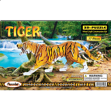 Tiger - Painted - 3D Wooden Puzzle