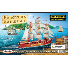 European Sailing Boat - Painted - 3D Wooden Puzzle