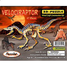 Velociraptor - Painted - 3D Wooden Puzzle