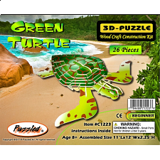 Green Turtle - Painted - 3D Wooden Puzzle - 1-100 Pieces
