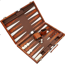 18 inch Backgammon Set - Brown and White - Wood Games