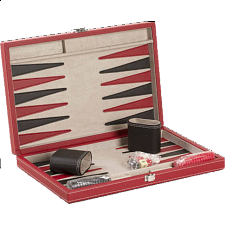 15 inch Backgammon Set - Black and Red Leatherette - Wood Games