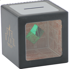 Disappearing Coin Bank with Levitating Green Cube