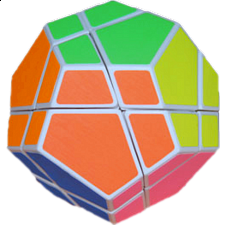 Skewb Ultimate White Body With 6 Color Fluorescent Stickers -