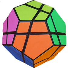 Skewb Ultimate Black Body With 6 Color Fluorescent Stickers - Meffert's Rotational Puzzles