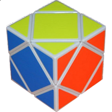 Skewb Cube white body with Fluorescent stickers