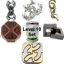 .Level 10 - a set of 7 Hanayama puzzles