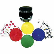 4 pc Round Card Holders with Case - Card Games