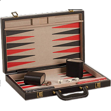 18 inch Backgammon Set - Black and Red Leatherette - Backgammon and Checkers