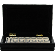 Dominoes Double 6 with a Black Leatherette Case - Dominoes