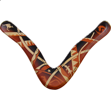 Aussie Fever - decorated wood boomerang - Right Handed