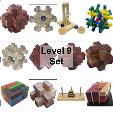 .Level 9 - a set of 12 wood puzzles