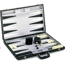 21 inch Backgammon Set - Black and White - Wood Games
