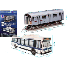 MTA New York City Transit: Bus and Subway Car - 3D Jigsaw - 1-100 Pieces