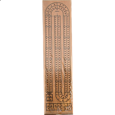 Cribbage Board: Natural Wood 2 Track - Wood Games