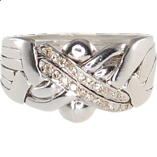 6 Band - Sterling Silver Puzzle Ring - Diamond -