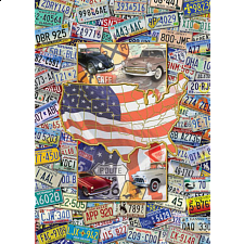 Collector Suitcase Jigsaw - Route USA License Plates - Collector Suitcase Series