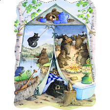 Shaped Jigsaw - Camping Bears - Large Format