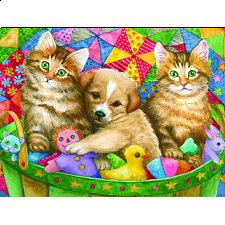 Kittens and Little Pup Basket - Large Format