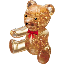 3D Crystal Puzzle - Teddy Bear - Brown - Plastic Interlocking Puzzles