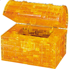 3D Crystal Puzzle - Orange Treasure Chest - Plastic Interlocking Puzzles