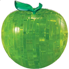 3D Crystal Puzzle - Apple - Green - Plastic Interlocking Puzzles