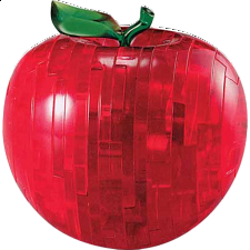 3D Crystal Puzzle - Apple - Red - Plastic Interlocking Puzzles