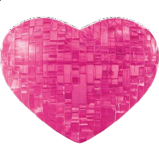 3D Crystal Puzzle - Heart - Pink - Plastic Interlocking Puzzles
