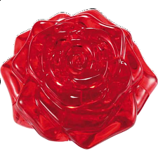 3D Crystal Puzzle - Rose - Red - Plastic Interlocking Puzzles