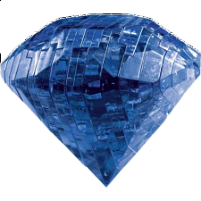 3D Crystal Puzzle - Gem - Sapphire Blue - Plastic Interlocking Puzzles