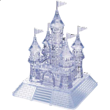3D Crystal Puzzle Deluxe - Castle (Clear) - Plastic Interlocking Puzzles