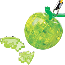 3D Crystal Puzzle Mini - Apple - Green - Plastic Interlocking Puzzles