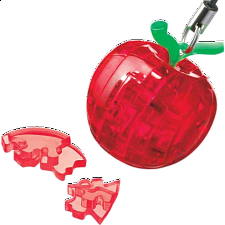 3D Crystal Puzzle Mini - Apple - Red - Plastic Interlocking Puzzles