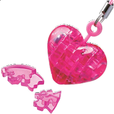 3D Crystal Puzzle Mini - Heart - Pink - Plastic Interlocking Puzzles