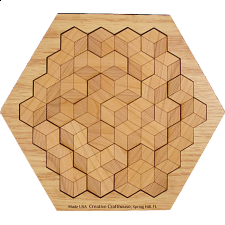 Hexagon 10 in solved base - Other Wood Puzzles