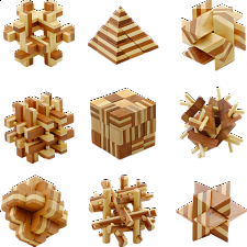 Group Special - Bamboo Wood Puzzles - set of 9