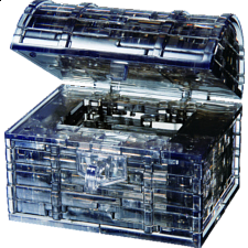 3D  Crystal Puzzle - Black Treasure Chest - Plastic Interlocking Puzzles