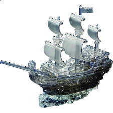 3D Crystal Puzzle Deluxe - Pirate Ship (Black) - Plastic Interlocking Puzzles