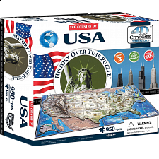 4D City Scape Time Puzzle - USA - 3D