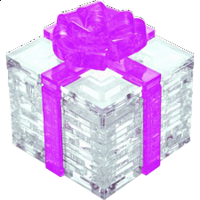 3D Crystal Puzzle - Gift Box - Pink - Plastic Interlocking Puzzles