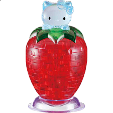 3D Crystal Puzzle - Hello Kitty on Strawberry - Plastic Interlocking Puzzles