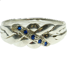 4 Band - Sterling Silver Puzzle Ring - Blue Sapphire -