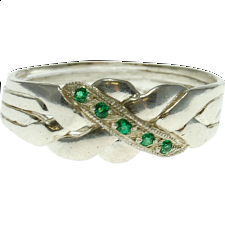 4 Band - Sterling Silver Puzzle Ring - Emerald -