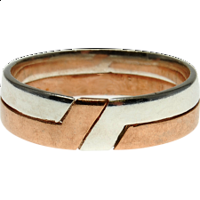 2 Band - Silver & Bronze Puzzle Ring -