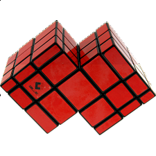 Mirror Double Cube - Black Body with Red Labels - Other Rotational Puzzles